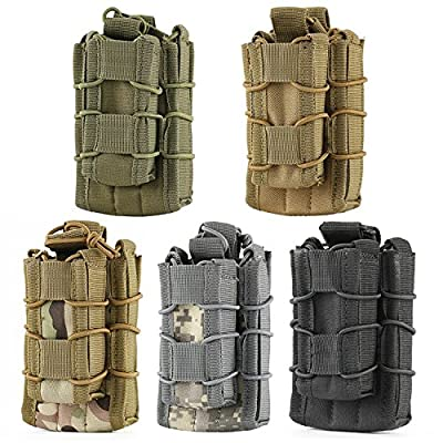 ThinkTop Double Mag Pouch Tactical Molle Magazine Pouch Open-Top Single Rifle Pistol Mag Pouch Cartridge Clip Pouch Hunting Bag-Black