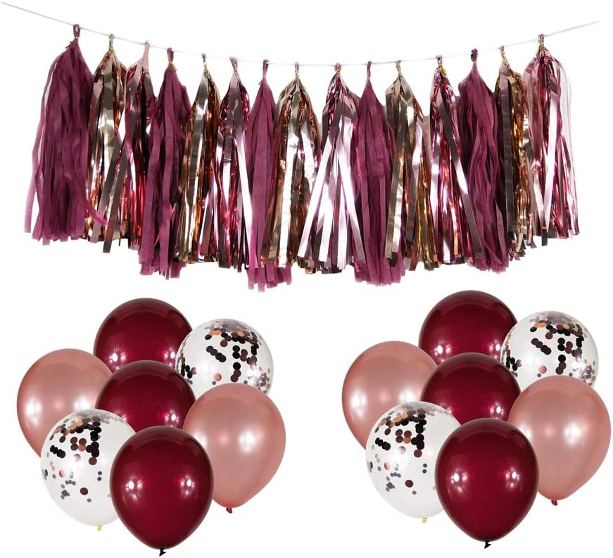 Burgundy Champagne Rose Gold Confetti Balloons Decoration Pack, 15 Pcs Big Size Burgundy Color Tissue 30 Pcs Latex Burgundy Balloons for Burgundy Fall Party Supplies Bachelorette Wedding Decor