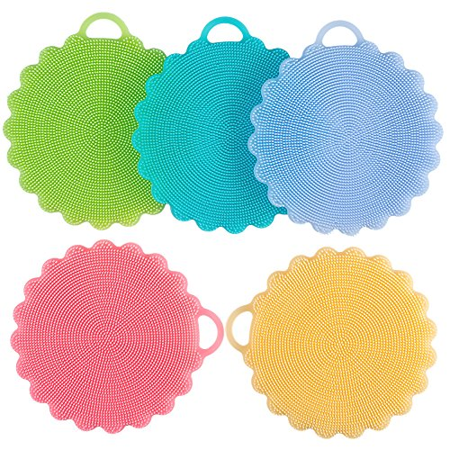 Food-grade Antibacterial Silicone Non Stick Dishwashing Brush Dish Towel Scrubber For Kitchen Wash Pot Pan Dish Bowl / Wash Fruit and Vegetable (5pcs Mix Color)