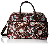 World Traveler Women's Carry-on Shoulder Tote Duffel Bag, Brown Daisy, 21-Inch
