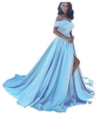b19f0f8f7b4199 Dressesonline Women's Off Shoulder A Line Split Prom Evening Dresses Long Formal  Gown US2
