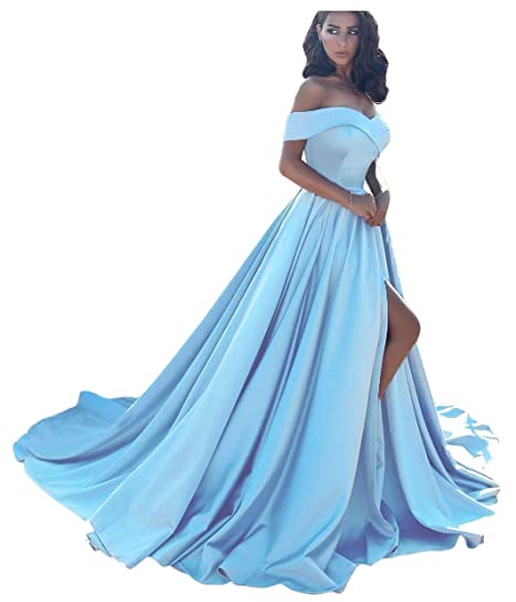 c92e98a672 Dressesonline Women's Off The Shoulder A Line Split Prom Evening Dresses  Long Formal Gown