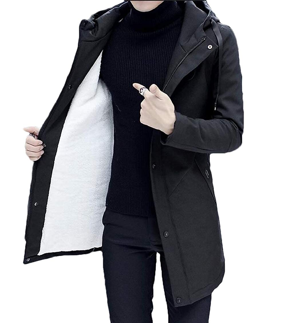 Nanquan Men Slim Fit Sherpa Lined Mid Length Hoodie Fleece Quilted Down Parka Coat