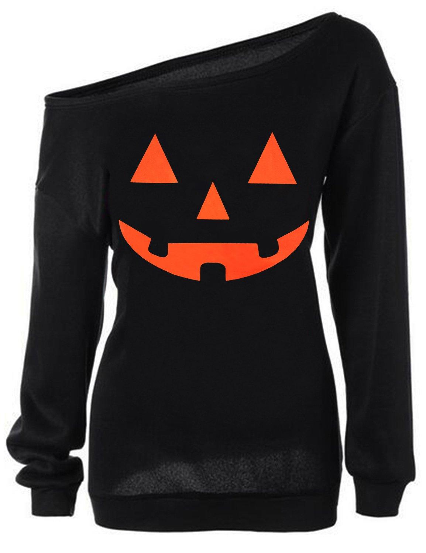 TWKIOUE Women Pullover Tops, Halloween Pumpkin Face Long Sleeve Sweatshirts Casual Pullover Tops C-Black 2XL