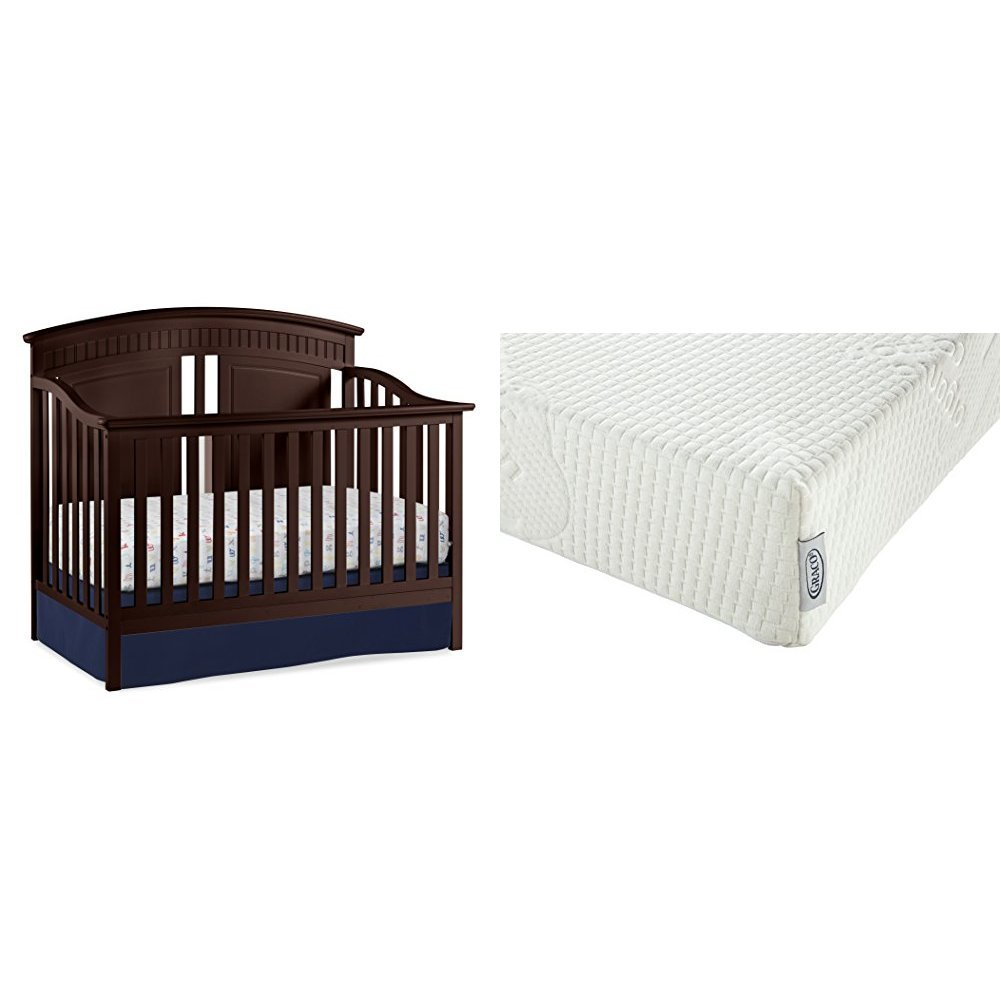 Thomasville Kids Majestic 4-in-1 Convertible Crib, Espresso with Graco Natural Organic Foam Crib and Toddler Mattress