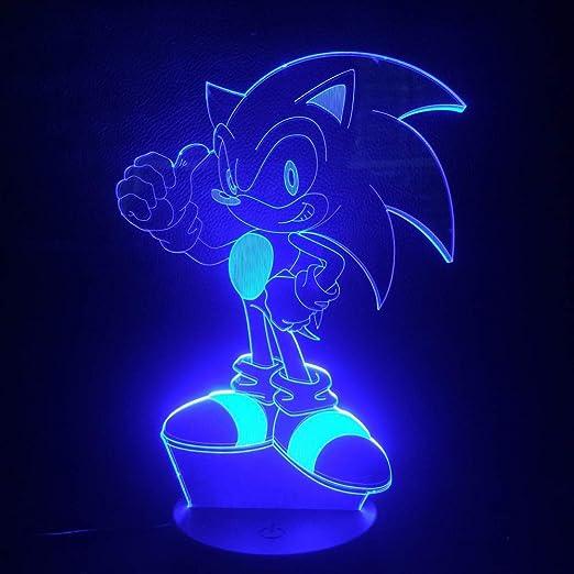 Juego Sonic The Hedgehog Luz de noche LED para niños Dormitorio único Decoración de mesita de noche Luz de noche Niños Lámpara de mesa 3D USB: Amazon.es: Iluminación
