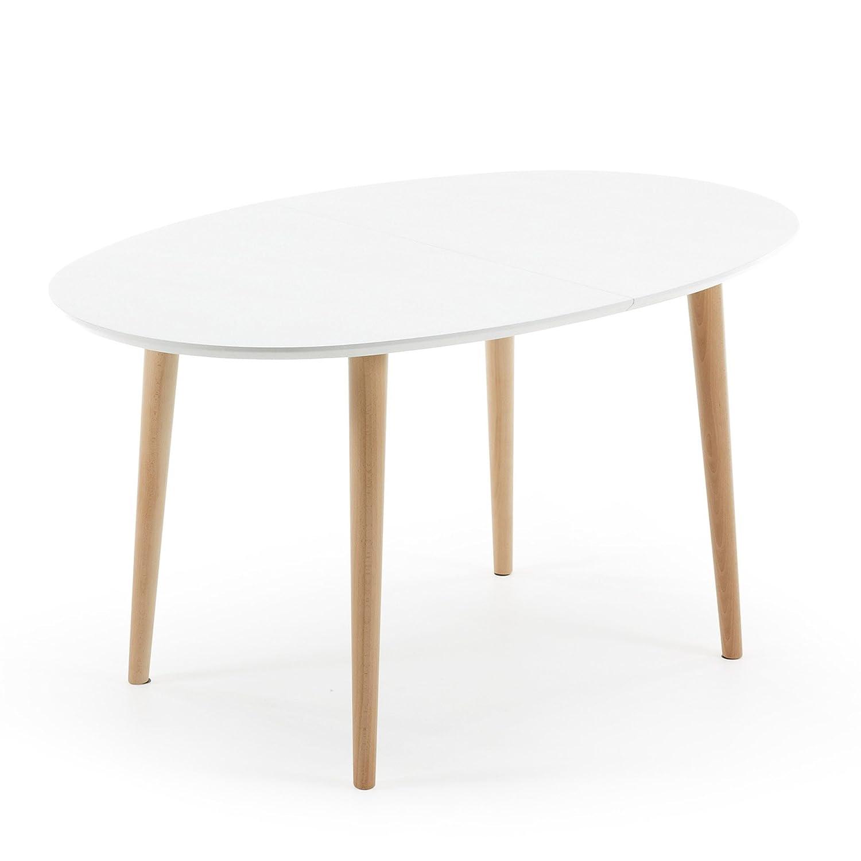 Kavehome Oqui ausziehbarer ovaler Tisch 140-220 cm, natur und weiss