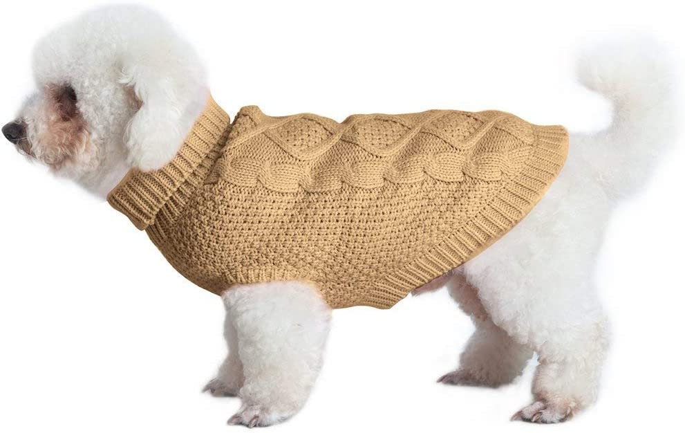 EXPAWLORER Dog Jumpers Winter Coat Sweaters Classic Clothes for Cold Weather with Harness Hole