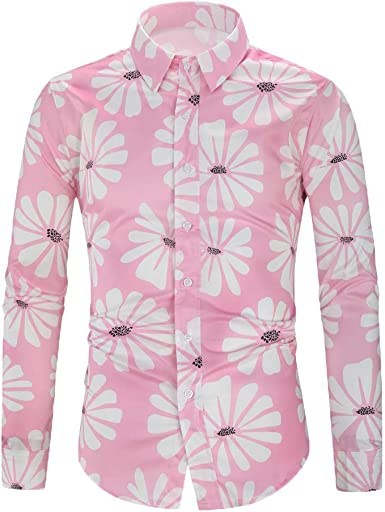 YUTING ‿ Camisas de Hombre, de algodón, Manga Larga, de Moda ...