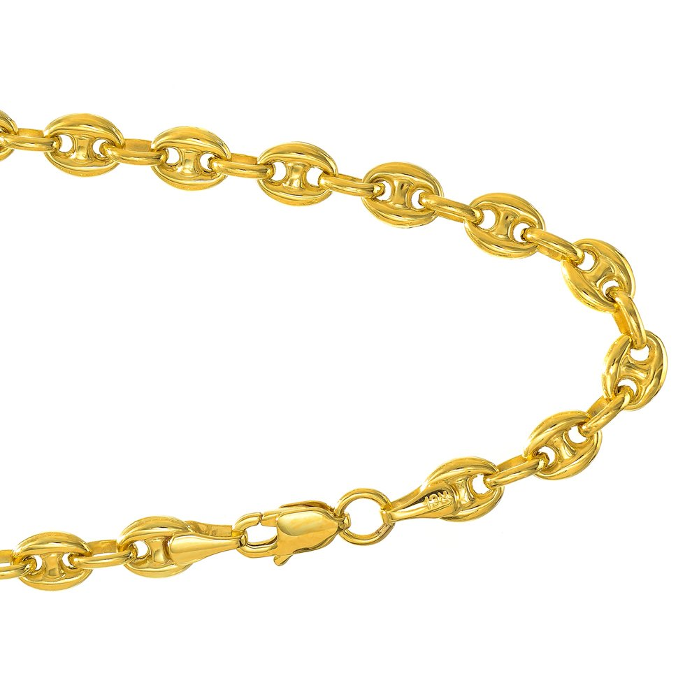 JewelStop 14k Yellow Gold 4.7 mm Puffed Mariner Anklet, Lobster Claw Clasp - 10'', 5.8gr.