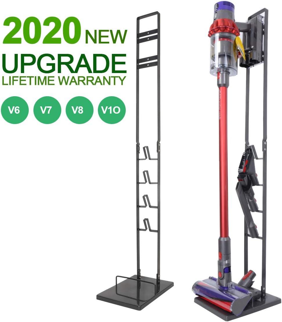 Upgraded Vacuum Stand for Dyson V10 V8 V7, Ultra-Stable Docking Station Stand Storage Holder for Dyson V10 V8 V7 V6 Cordless Vacuum Cleaners & Accessories, Metal Organizer Rack, Black