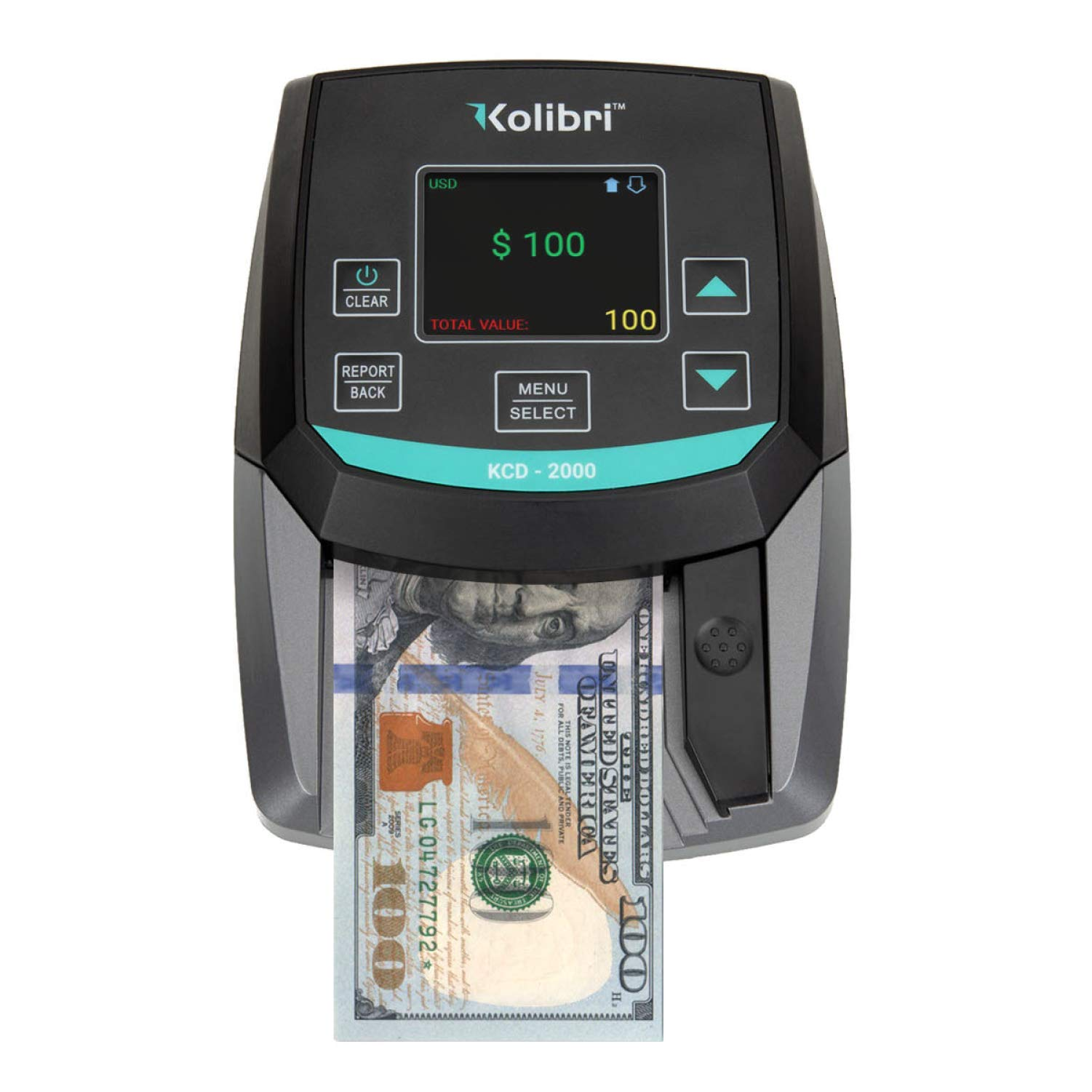 Kolibri KCD-2000 All-Orientation 2-in-1 Counterfeit Bill Money Detector and Counter, Fake Currency Checker Machine with Advanced UV, MG and IR Detection, Compact & Easy with Value and Pass/Fail Modes