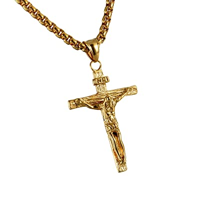 Cupimatch Collar Cruz Acero Inoxidable Jesus Hipoalergénico ...
