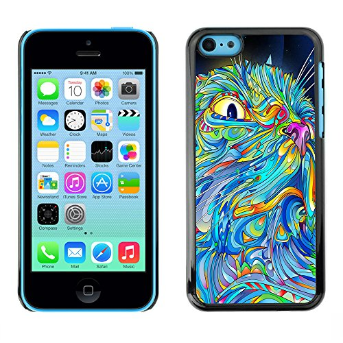 Omega Case PC Polycarbonate Cas Coque Drapeau - Apple iPhone 5C ( The Psychedelic Pattern Cat )