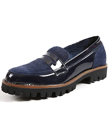 b11c1a23de6 MARCO TOZZI - Ladies Navy Blue Suede   Patent Chunky Sole Loafers Womens  Shoes Size 9