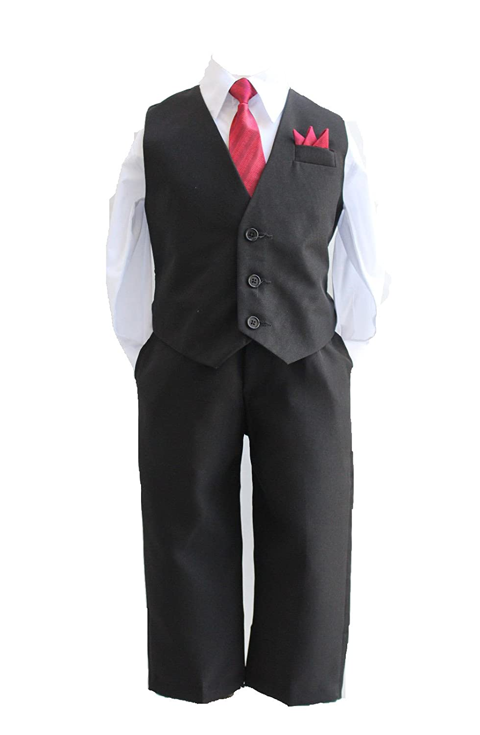 Boys solid vest set with RED Tie and WHITE Shirt