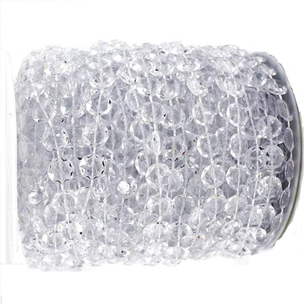 Tobway 98Ft Crystal Like Beads by the roll - Wedding Decorations - 1Roll (White) China