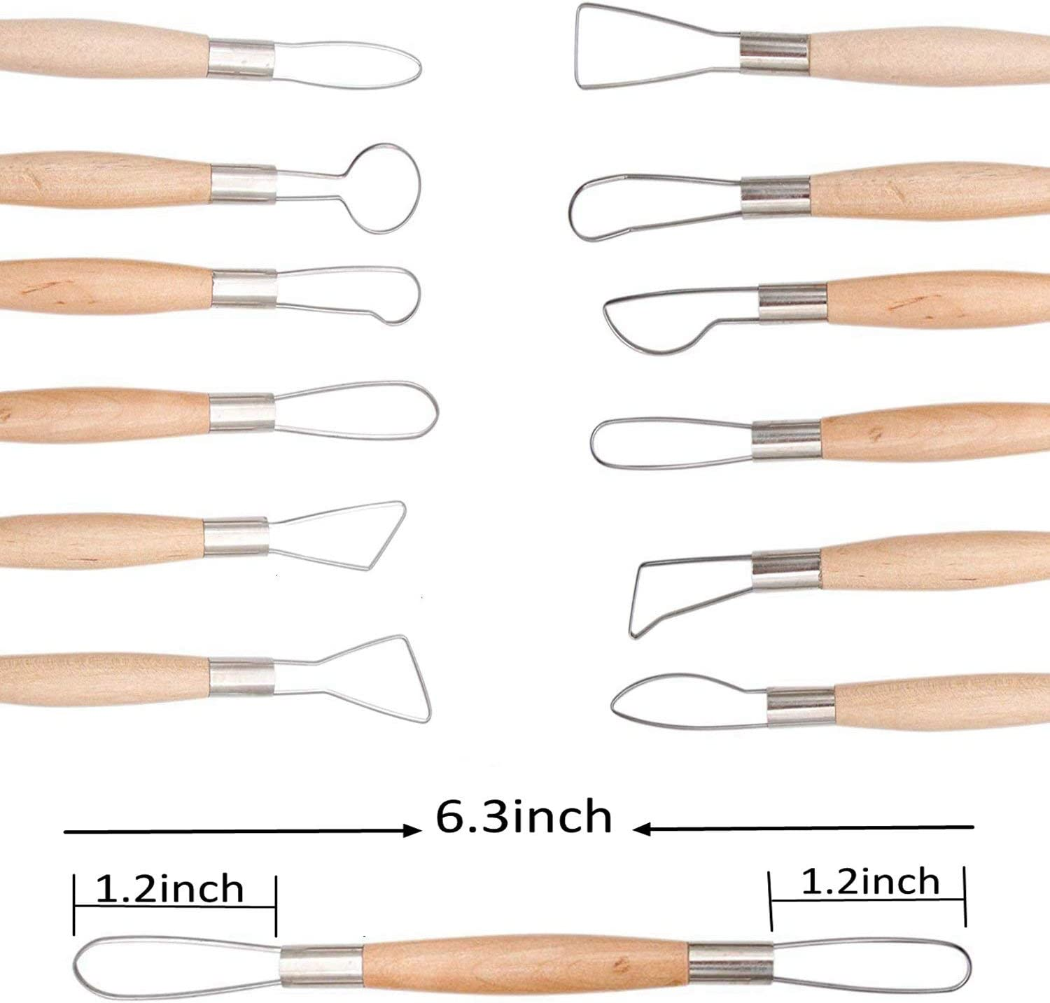Modeling,by Augernis 14PCS Ceramic Pottery Clay Ribbon Sculpting Tool Kit with Feather Wire Texture and Needle Detail Tools for Carving//Scraping