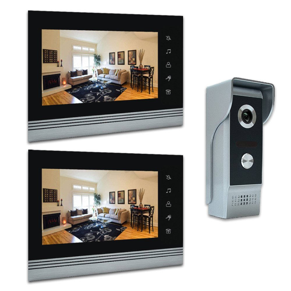 AMOCAM 7'' Video Intercom Systems, Aluminum Alloy / Acrylic Panel Doorphone, Wired Video Door Phone Doorbell Kits, Support Monitoring, Unlock, Dual-way Door Intercom, 2- LCD Monitor, 1- IR Camera