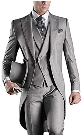 dd47ed14f75 Men's White 3PC Long Tailcoat Suit Notch Lapel One Button Wedding Suits  Groom Tuxedos at Amazon Men's Clothing store: