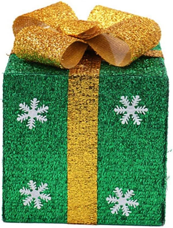 KTENME Bo/îte Cadeau de No/ël avec Couvercle et poign/ées en Ruban Vert 15 x 15 cm