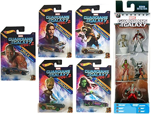 Marvel Guardians of the Galaxy Vol. 2 Groot Hot Wheels Cars Movie Exclusive set + Metal Mini Figures Set Rocket Raccoon Drax Star-Lord Gamora Collectible Die-Cast bundle (Halo 2 Master Chief Costume)