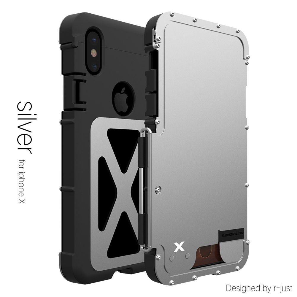 For IPhone X,DAYJOY Cool Design Luxury Flip Armor Shield FullBody Stainless steel Metal shockproof Bumper Frame Cover Case for Apple IPhone X (SILVER)