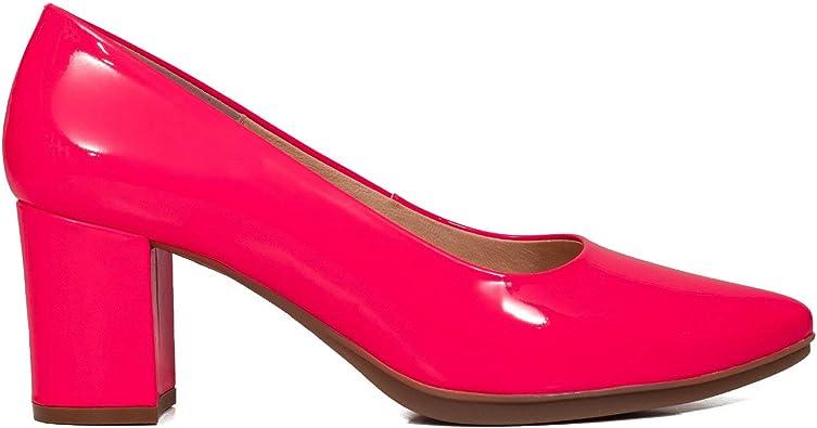 Urban S NEÓN - Zapato de tacón bajo Rosa FLÚOR: Amazon.es: Zapatos y complementos