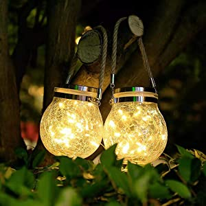 Fengqiwu Solar Lantern Outdoor Crackled Glass Ball Decorative Hanging Solar Lights30LED IP65 Waterproof Pack of 2
