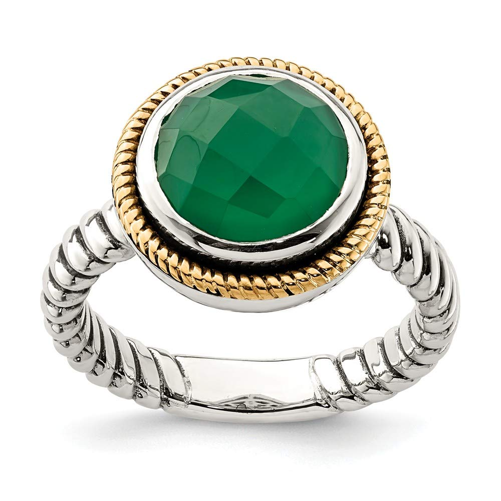 925 Sterling Silver 14k Green Black Onyx Band Ring Size 6.00 Stone Fine Jewelry Gifts For Women For Her