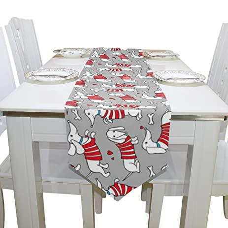 Naanle Double Sided Merry Christmas Dog Dachshund Polyester Table Runner 13  X 70 Inches Long