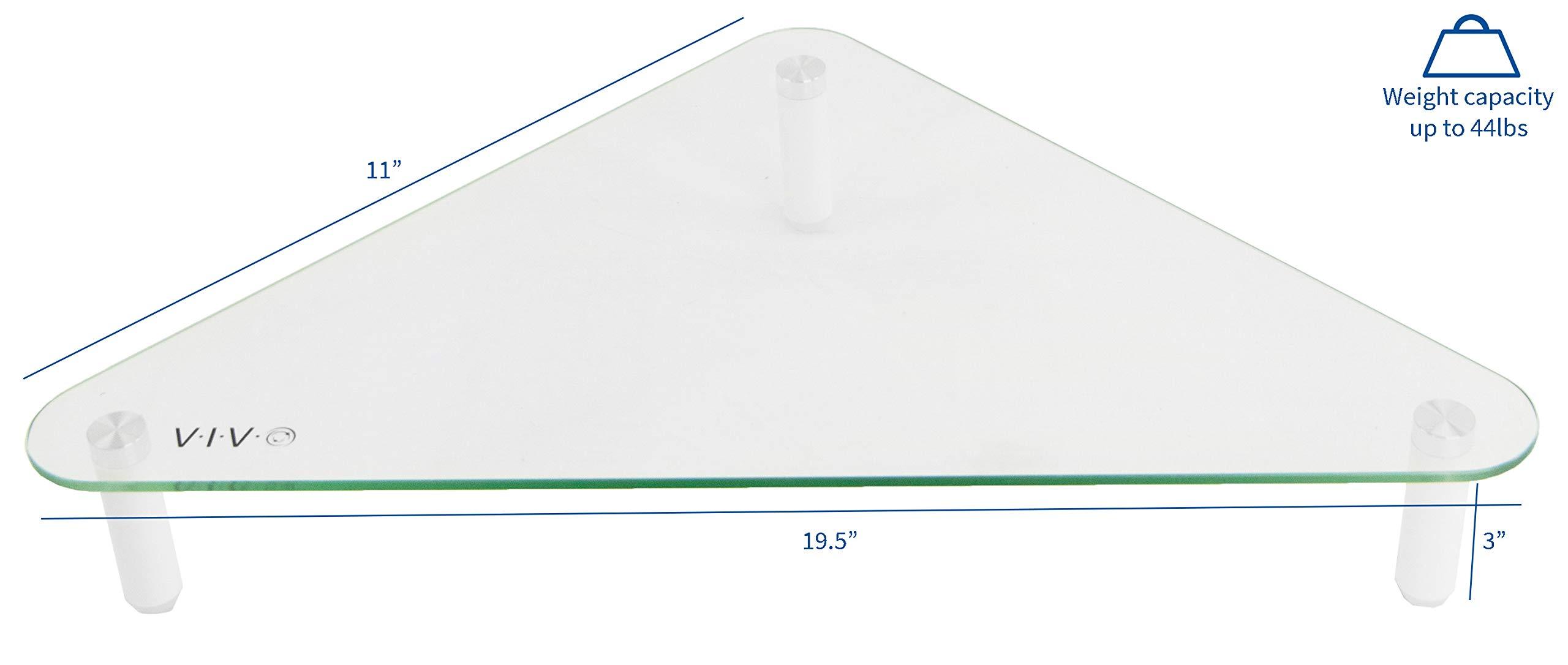 VIVO Glass Ergonomic Tabletop Riser | Triangle Desktop Universal Corner Stand for Computer Monitor & Laptop (STAND-V000Q) by VIVO (Image #2)