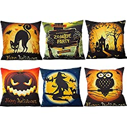 "HOSL 6 Pack PW04 Happy Halloween Decorative Pillow Cover Case 18"" X 18"""