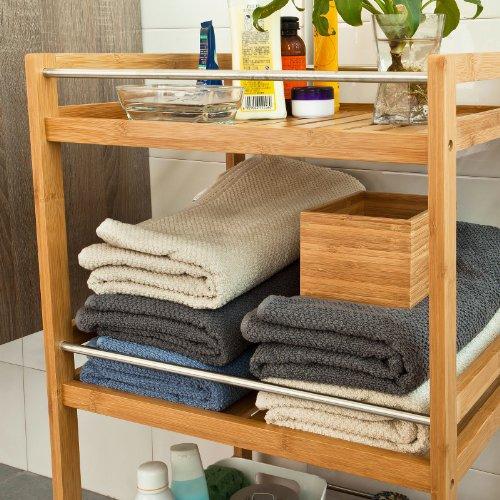 SoBuy® Carrello per il bagno, mensole da bagno, in Bambù ...
