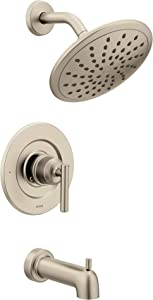 Moen T3003EPBN Gibson Posi-Temp Pressure Balancing Modern Tub and Shower Trim with 8-Inch Rainshower, Valve Required, Brushed Nickel