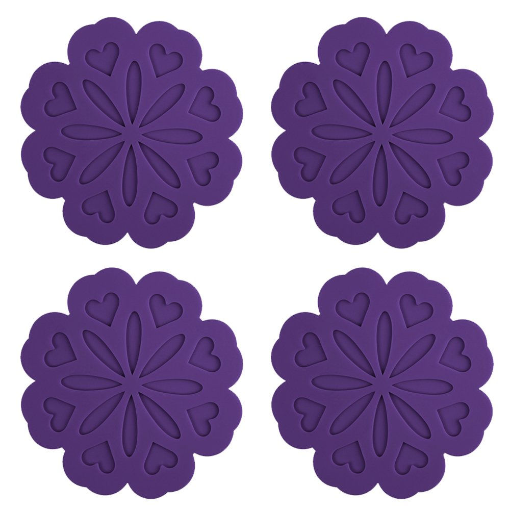 ME.FAN 4 Set Silicone Pot Holders, Trivet Mat, Jar Opener, Spoon Rest and Kitchen Trivet, Non Slip Flexible, Durable, Heat Resistant Dishwasher Safe Kitchen Trivet and Pot Pads -Purple