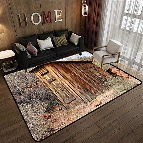 Multi-Color Modern Area Rug,Outhouse,Old Wooden Shed in The Outback Country Side with Olive Trees,Caramel Brown and Dark Green 78.7