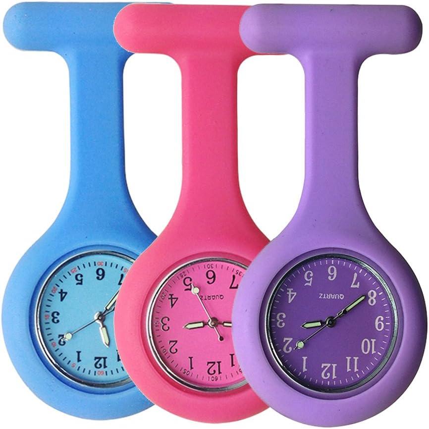 Reloj para enfermeros con broche, hecho de silicona de alta calidad con pasador/clip y diseño con control de infecciones, brilla en la oscuridad