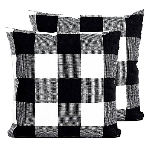 1 Cotton Linen (Famibay Set of 2 Throw Pillow Covers, Square Tartan Cotton Linen Throw Pillow Case Cushion Cover 20 x 20 inch Invisible Zipper Decorative Soft Pillow Case without Insert, Black and white)