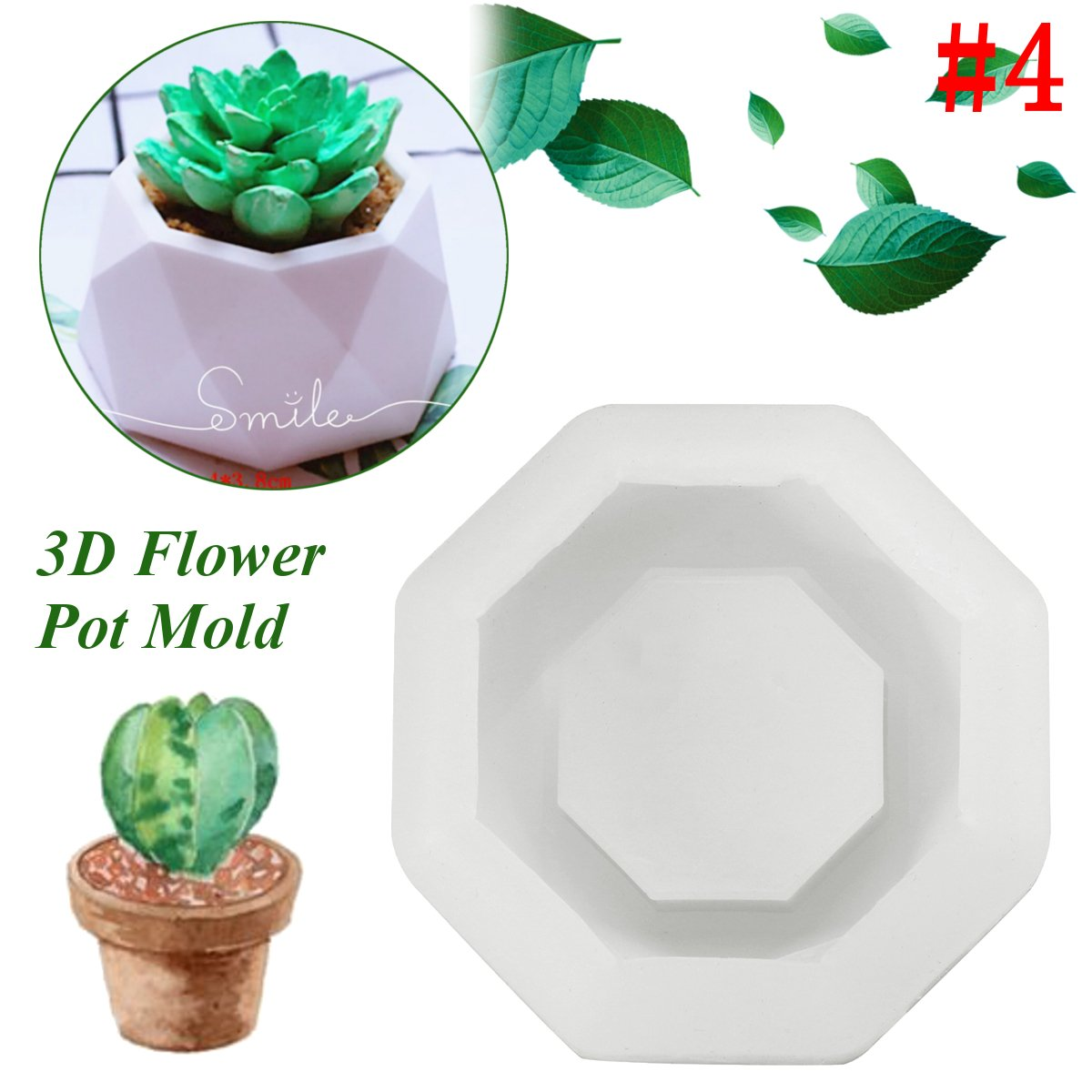 MeiMeiDa 4 Pack Mini Octagon Flower Pot Silicone Molds DIY Craft Molds for Small Cactus or Seedlings Succulent Plant Planter Pot Mold Concrete Cement Plaster Molds Silicone Ice Shot Glass Molds