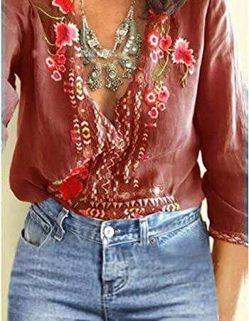 Carremark – Camiseta de Mujer con Flores Bordadas tee Deep V Neck Camisas de Manga Larga Top Camisa: Amazon.es: Hogar