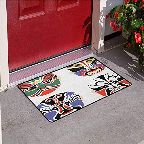 Gloria Johnson Kabuki Mask Inlet Outdoor Door mat Traditional Chinese Cultural Opera Mask Set Collection Asian Tribal Art Theme Catch dust Snow and mud W31.5 x L47.2 Inch Multicolor