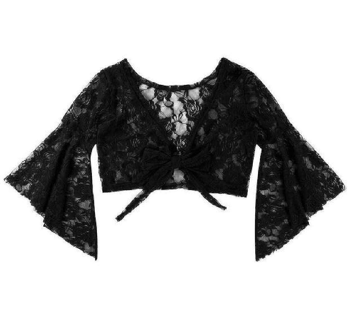 Nanquan Women Ruffle Lace Belly Dance Flare Sleeve Tie Dance Cardigan Shrug