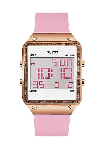 Guess mujer reloj digital cuarzo silicona color rosa w0700l2: Amazon.es: Relojes