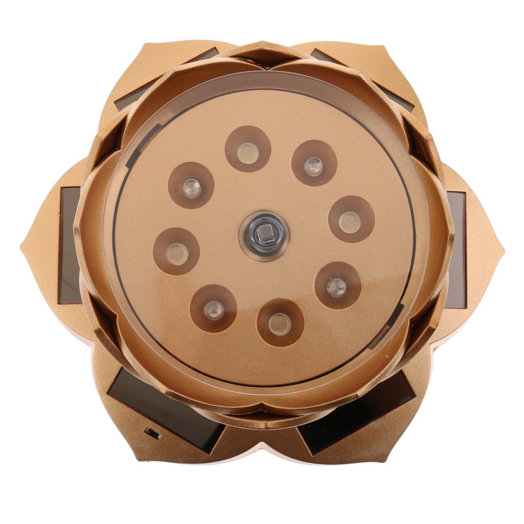 MonkeyJack Lotus Lamp Solar Powered 360° Rotating Jewellery Ring Phone Display Holder Organizer Decorative Gold