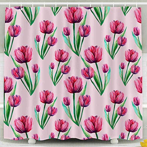 - KIOAO Farmhouse Shower Curtain Liner Fabric,Background Pink Red Tulips Flowers Blue Tulip Leaves Textiles Watercolor Handmade a Wallpaper 78X72Inch Waterproof Extra Long Shower Curtains