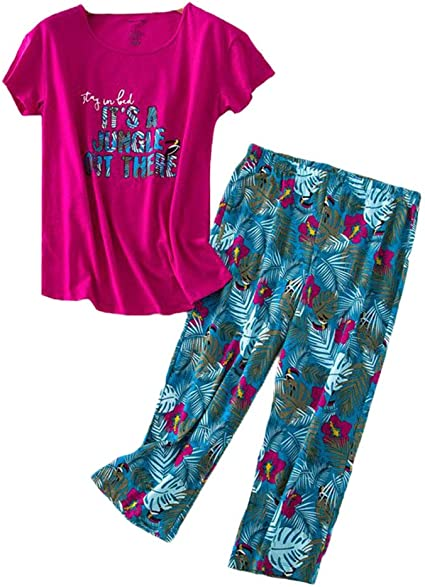Yours Clothing Women/'s Plus Size Pink Sheep Print Cropped Pyjama Set