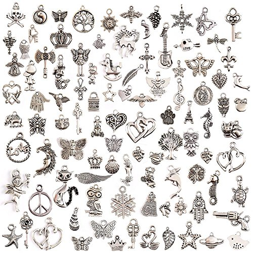 KeyZone Wholesale 100 Pieces Mixed Charms Pendants DIY for Jewelry Making and Crafting Charms