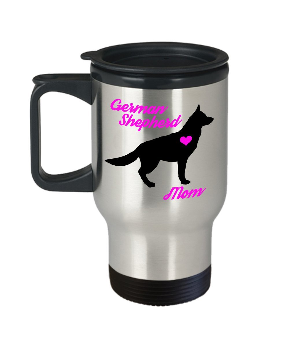 German Shepherd Mom Travel Mug - Insulated Portable GSD Coffee Cup With Handle And Lid For Dog Lovers - Perfect Christmas Gift Idea For Women - Novelty Animal Lover Quote Statement Accessories