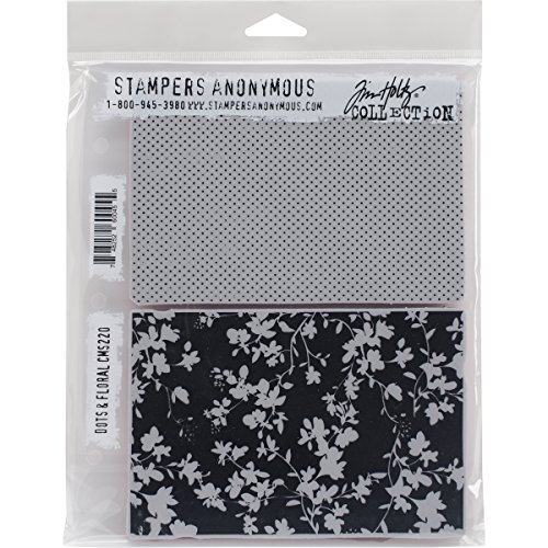 (Stampers Anonymous Tim Holtz Cling Rubber Dots & Floral Stamp Set, 7 x 8.5)